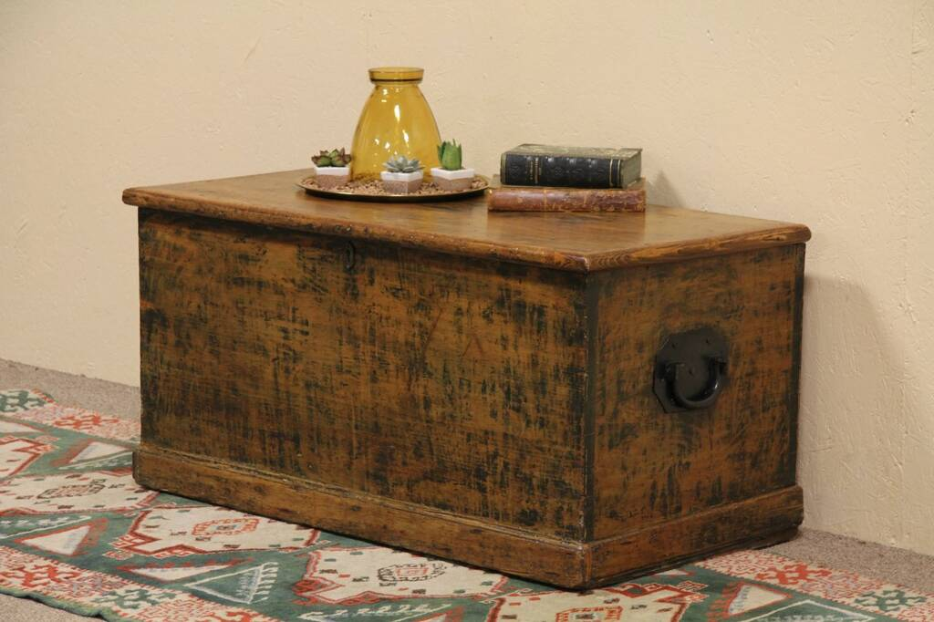 Sold Country Pine Trunk Blanket Chest Or Coffee Table Harp Gallery Antique Furniture