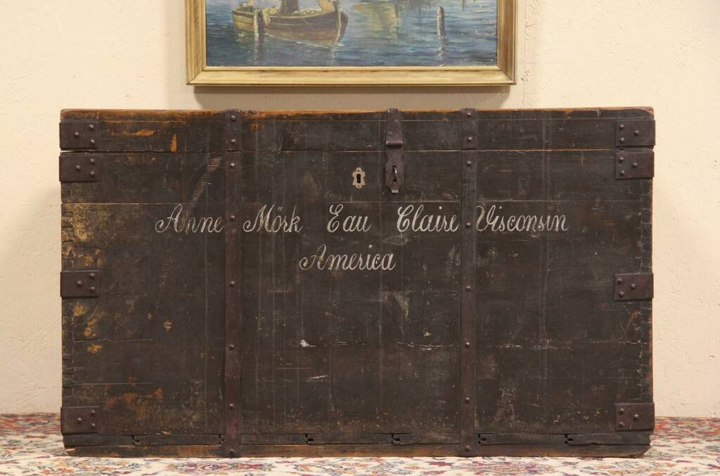 Sold Norwegian 1880 Pine Immigrant Trunk Chest Or