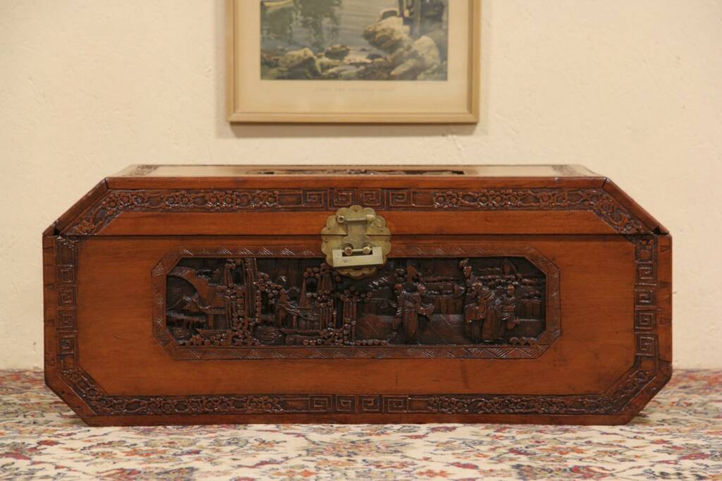 Carved chinese teak trunk or coffee table ebay for Asian trunk coffee table