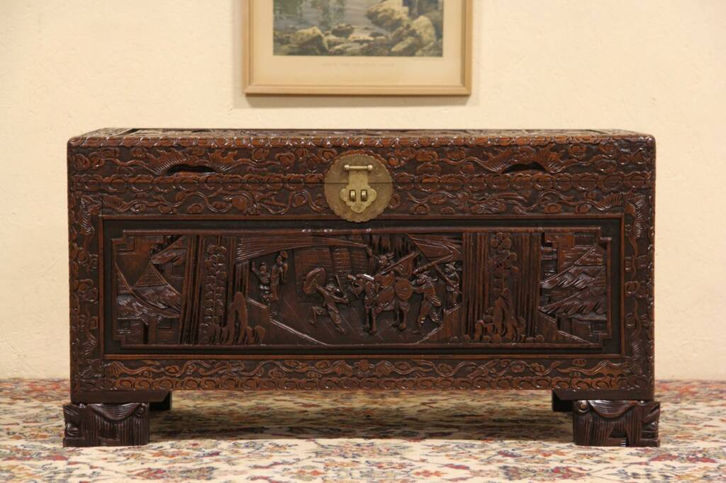 Carved chinese camphor trunk or coffee table ebay for Asian trunk coffee table