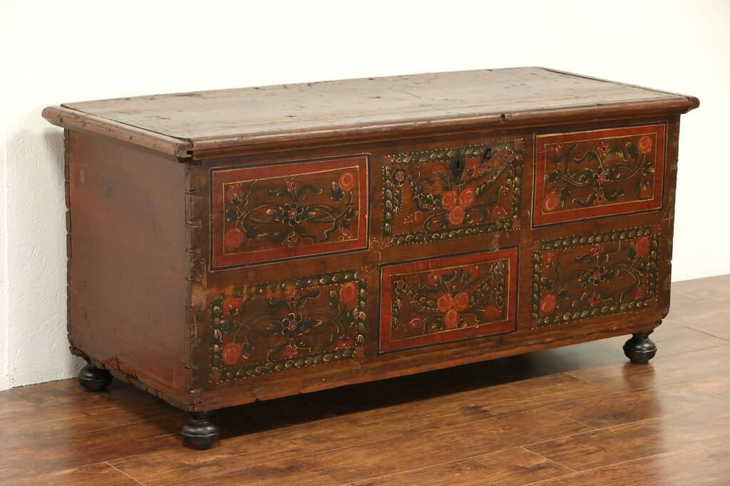 Sold scandinavian hand painted folk art pine 1800 for Hand painted chests