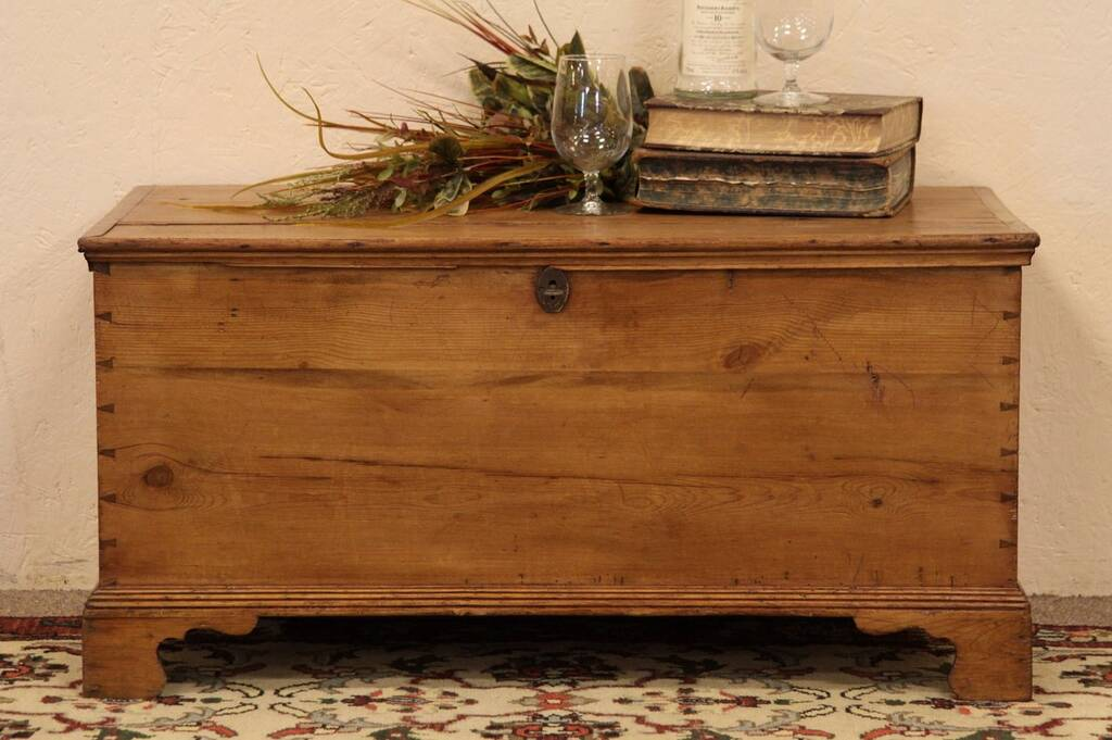 Sold Country Pine Immigrant Trunk Coffee Table Harp Gallery Antique Furniture