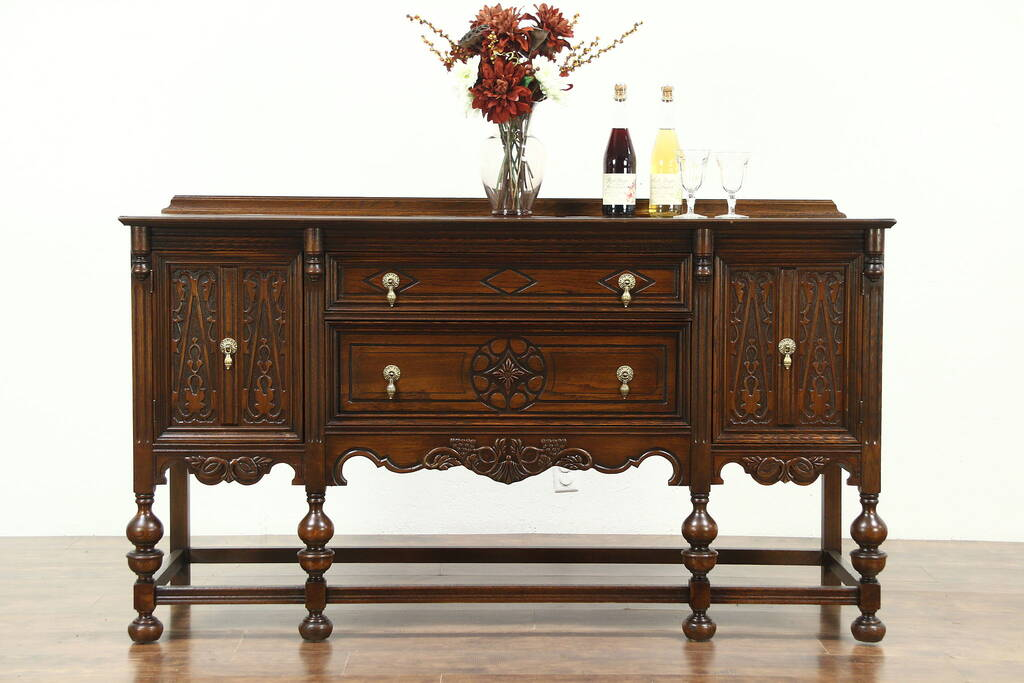 English Tudor Style 1920 S Antique Sideboard Server Or