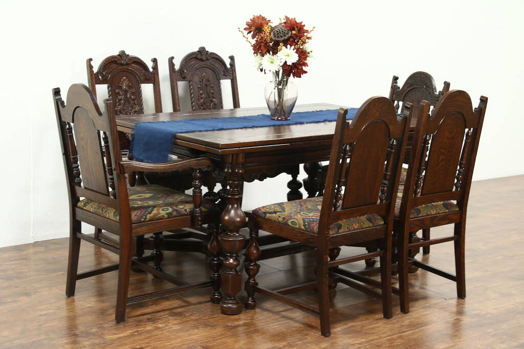Oak Carved English Tudor 1925 Dining Set Table Amp 6 Chairs