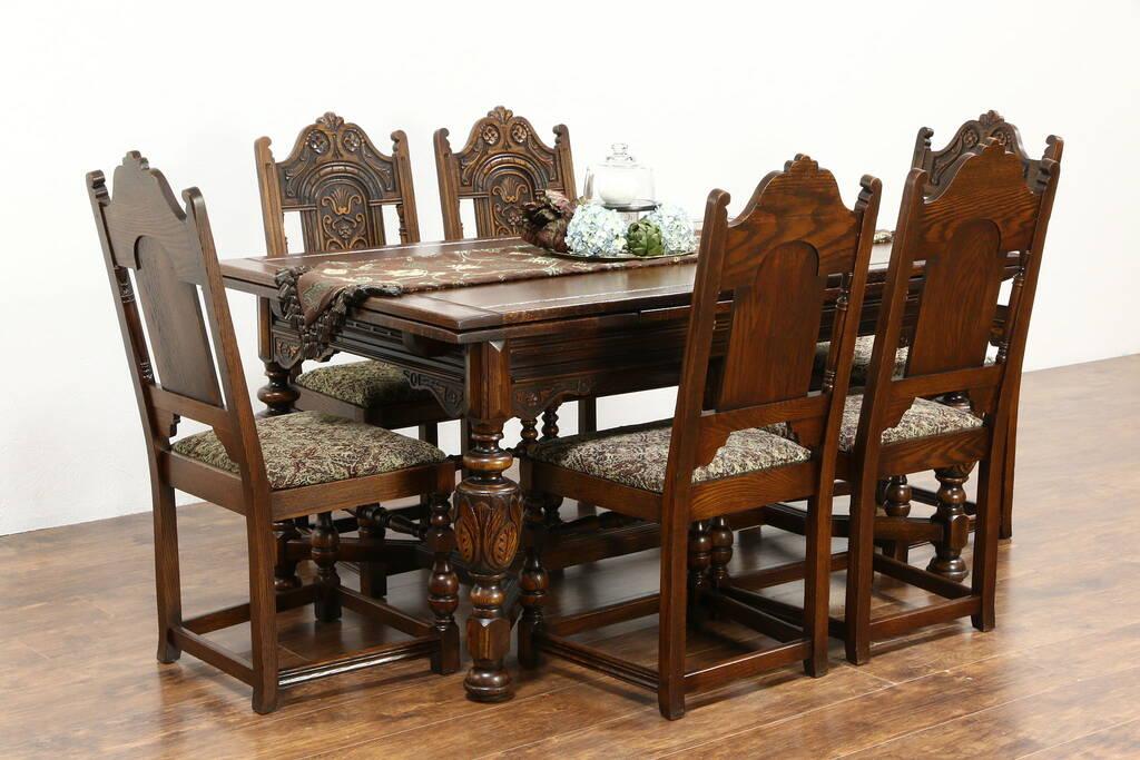 Sold English Tudor 1925 Carved Oak Dining Set Table