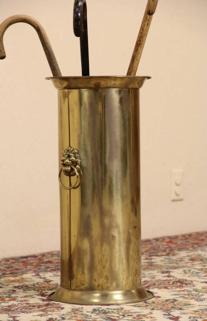 Sold Victorian 1910 Antique Brass Umbrella Stand Cane