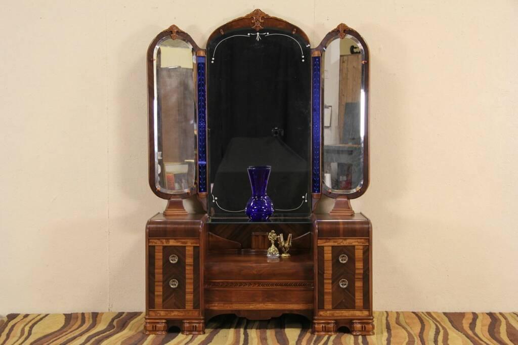 Sold Art Deco Waterfall 1930 S Dressing Table Vanity