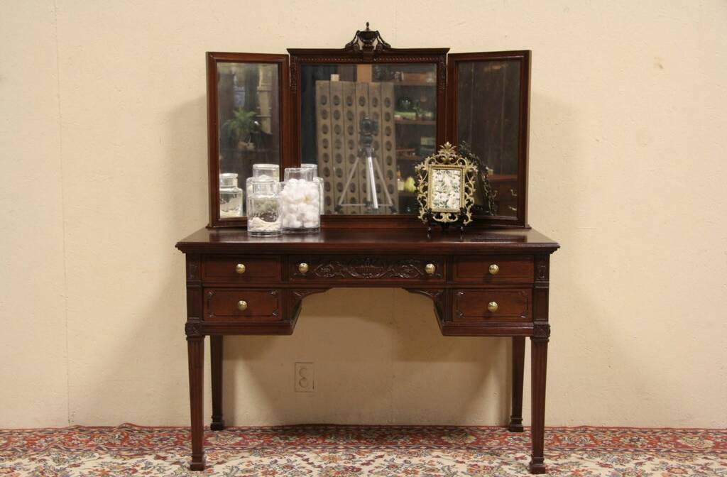 Victorian dressing table - Sold Carved Mahogany 1910 Antique Dressing Table Desk Or Vanity