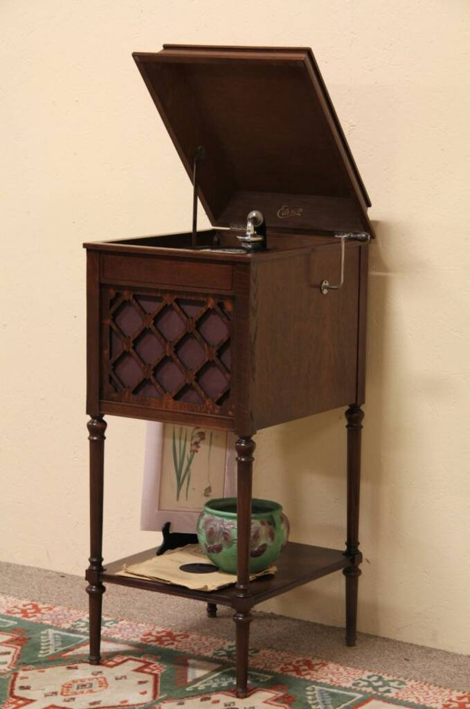 Sold Edison Wind Up Phonograph Record Player Harp