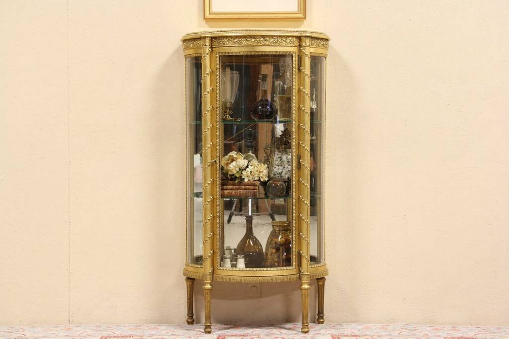 SOLD French Gold Leaf Curved Glass Vitrine Or Curio Display Cabinet
