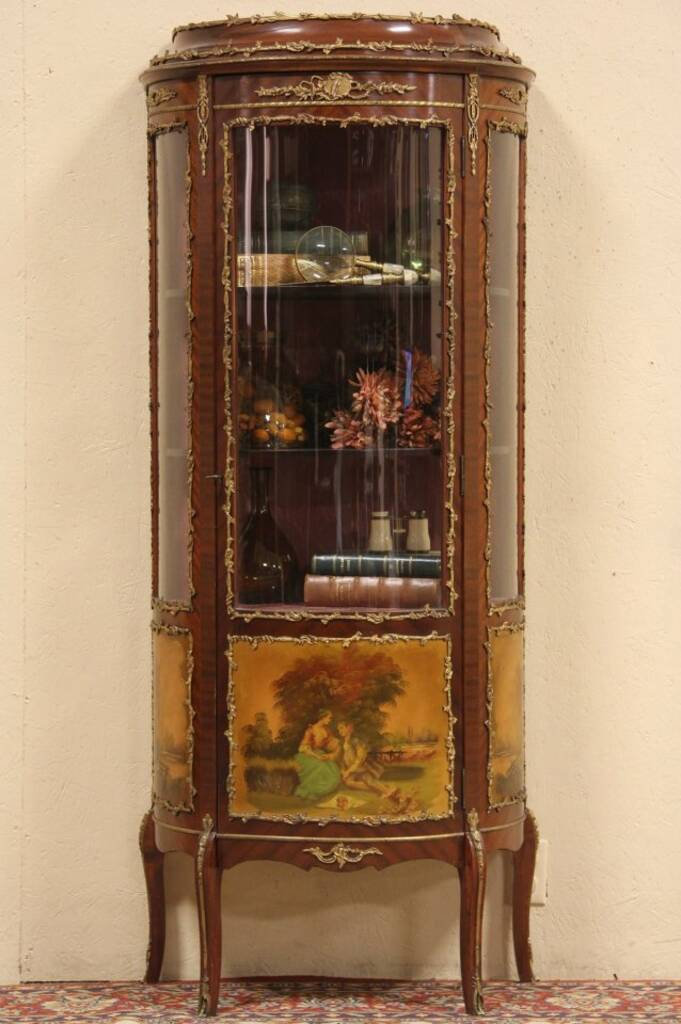 Sold Curved French Curio Display Cabinet Painted Scenes Harp Gallery Antique Furniture