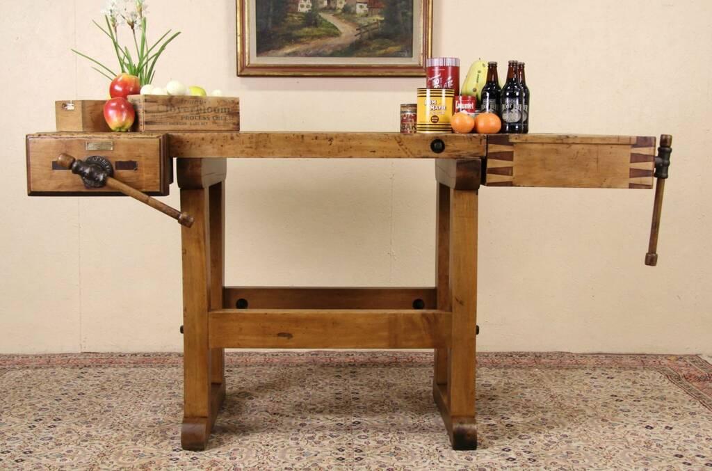 Sold carpenter 1900 antique ohio workbench kitchen for Table 6 kitchen canton ohio