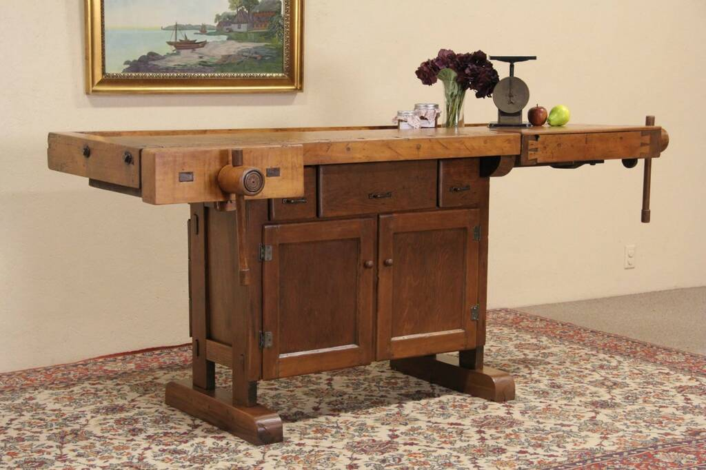 installing kitchen island sold carpenter 1890 workbench amp cupboard wine table 1890