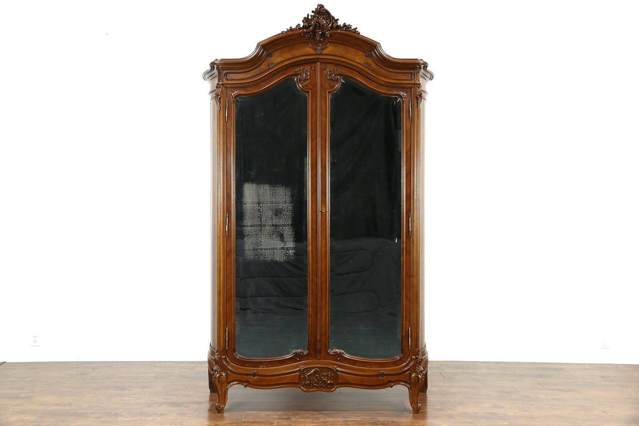 French 1900 antique carved walnut armoire wardrobe beveled - Armoire dressing miroir ...