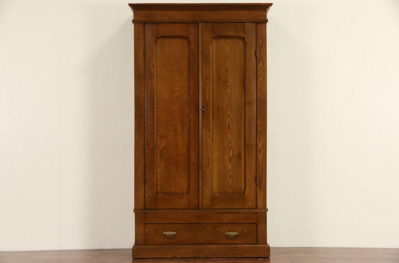 Oak ash antique armoire wardrobe or closet ebay