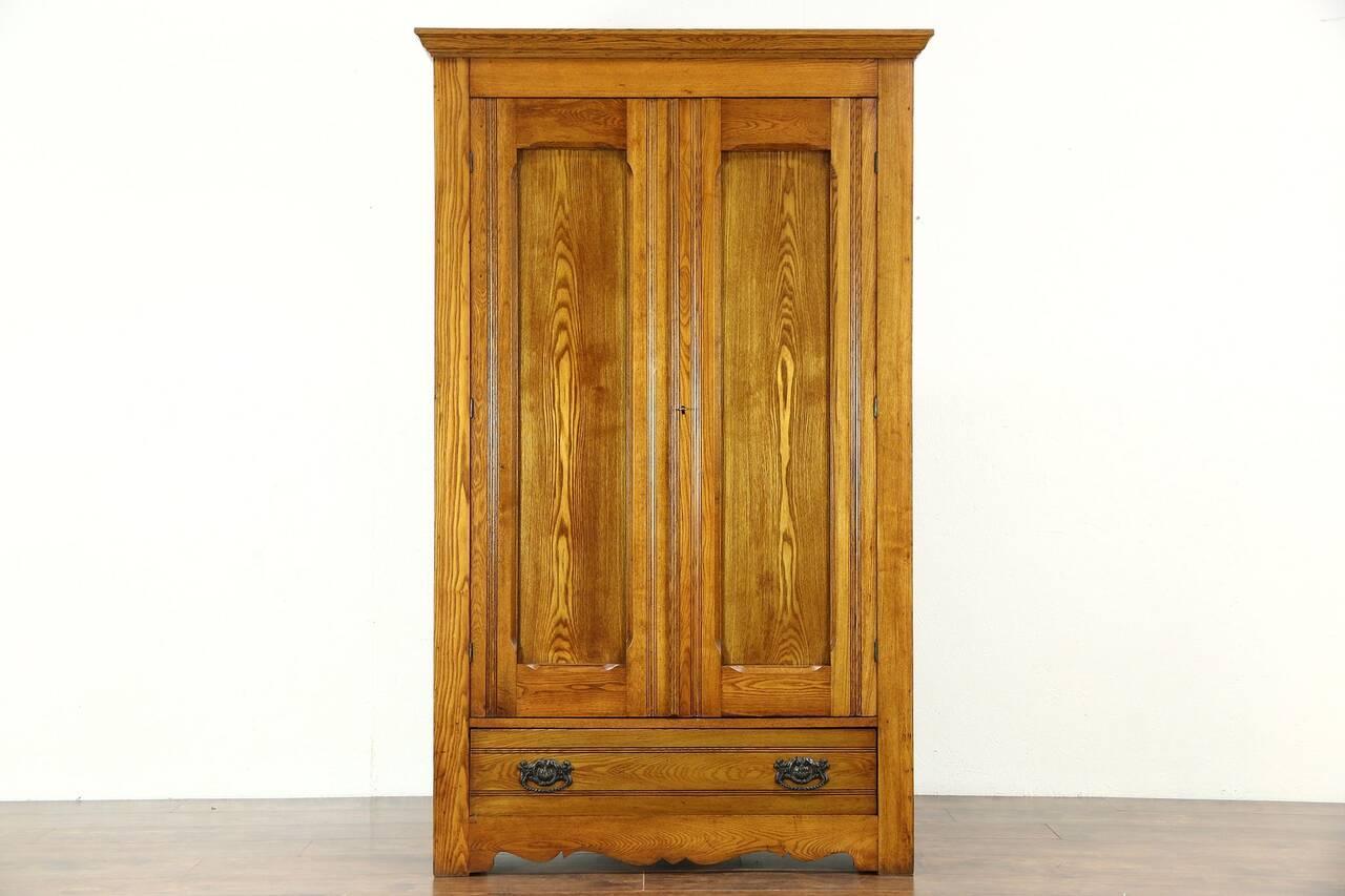 Victorian Eastlake 1890 Antique Oak Amp Ash Armoire