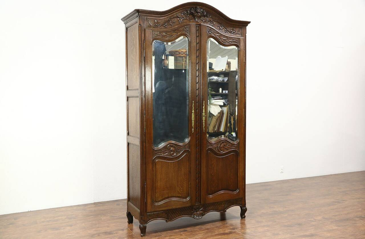 vintage antique furniture wardrobe walnut armoire. French Antique Hand Carved Armoire. 1890 Oak Armoire Or Wardrobe, Vintage Furniture Wardrobe Walnut