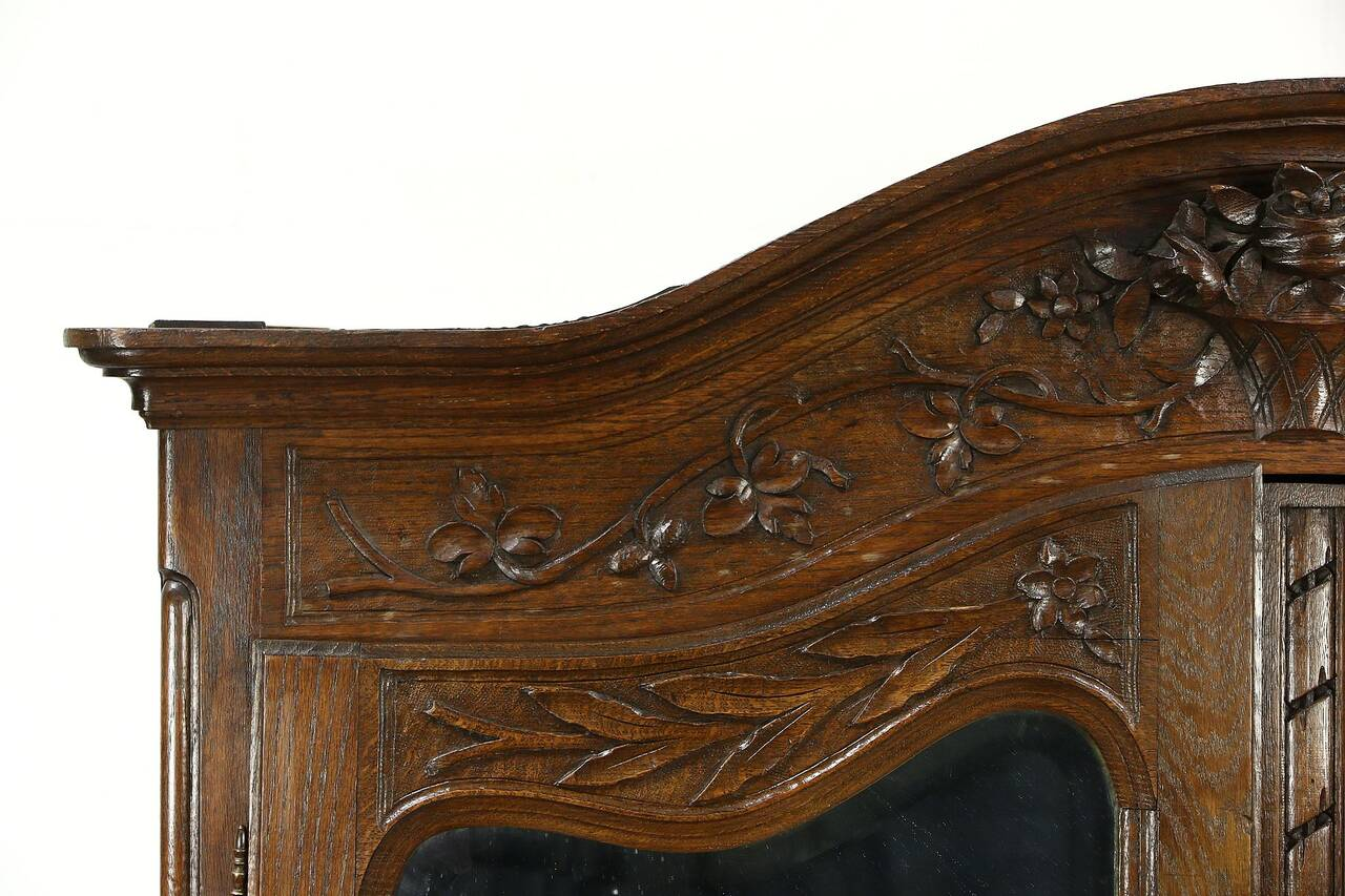 french antique hand carved armoire. French Antique 1890 Hand Carved Oak Armoire Or Wardrobe, Beveled Mirrors. Thumbnail
