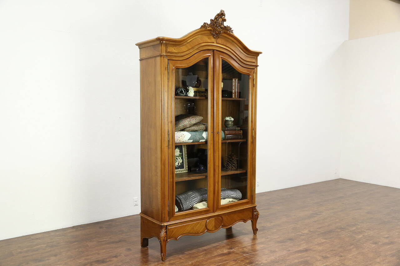 french antique carved fruitwood armoire bookcase or china cabinet glass doors ebay. Black Bedroom Furniture Sets. Home Design Ideas