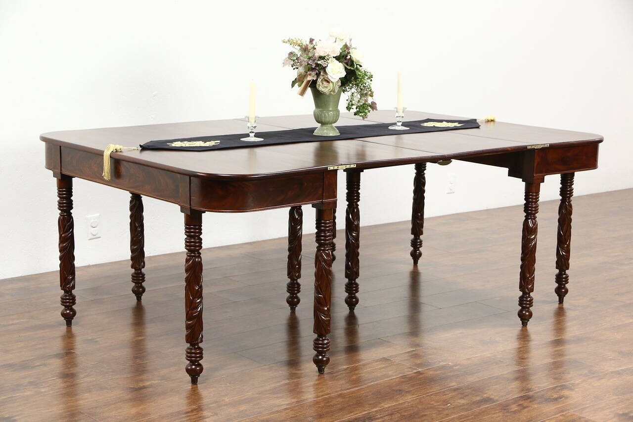 Empire 1820 39 s antique pair acanthus carved mahogany for Mahogany dining table