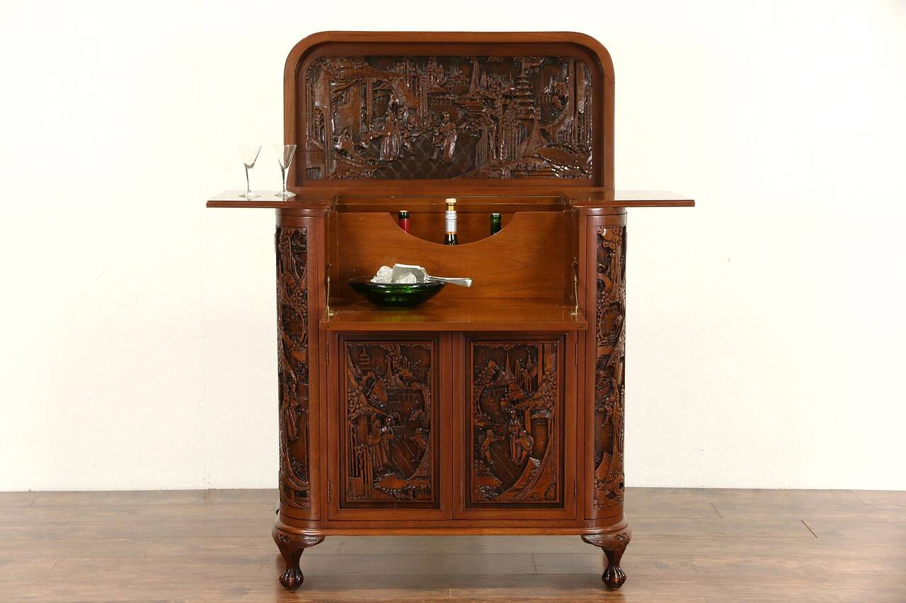 Chinese Hand Carved Teak Vintage Bar Or Liquor Cabinet