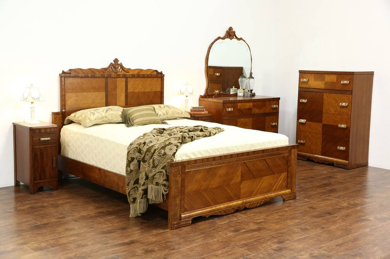 Art Deco 1935 Vintage 5 Pc Queen Size Bedroom Set Bed 2