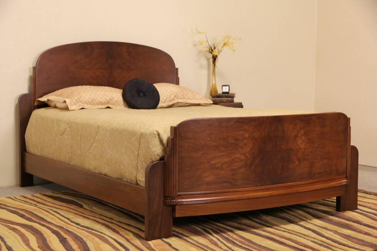 Art Deco 1930 39 S Vintage Walnut Burl Queen Size Bed Ebay