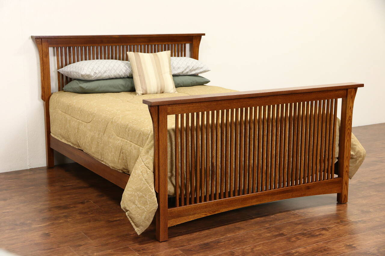 Arts crafts mission oak vintage craftsman queen size bed for Arts and crafts beds