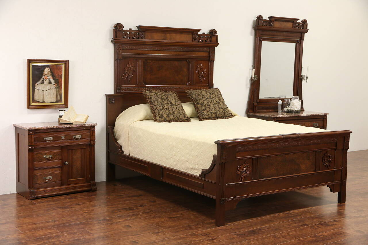 victorian eastlake 1880 39 s queen size 3 pc walnut burl