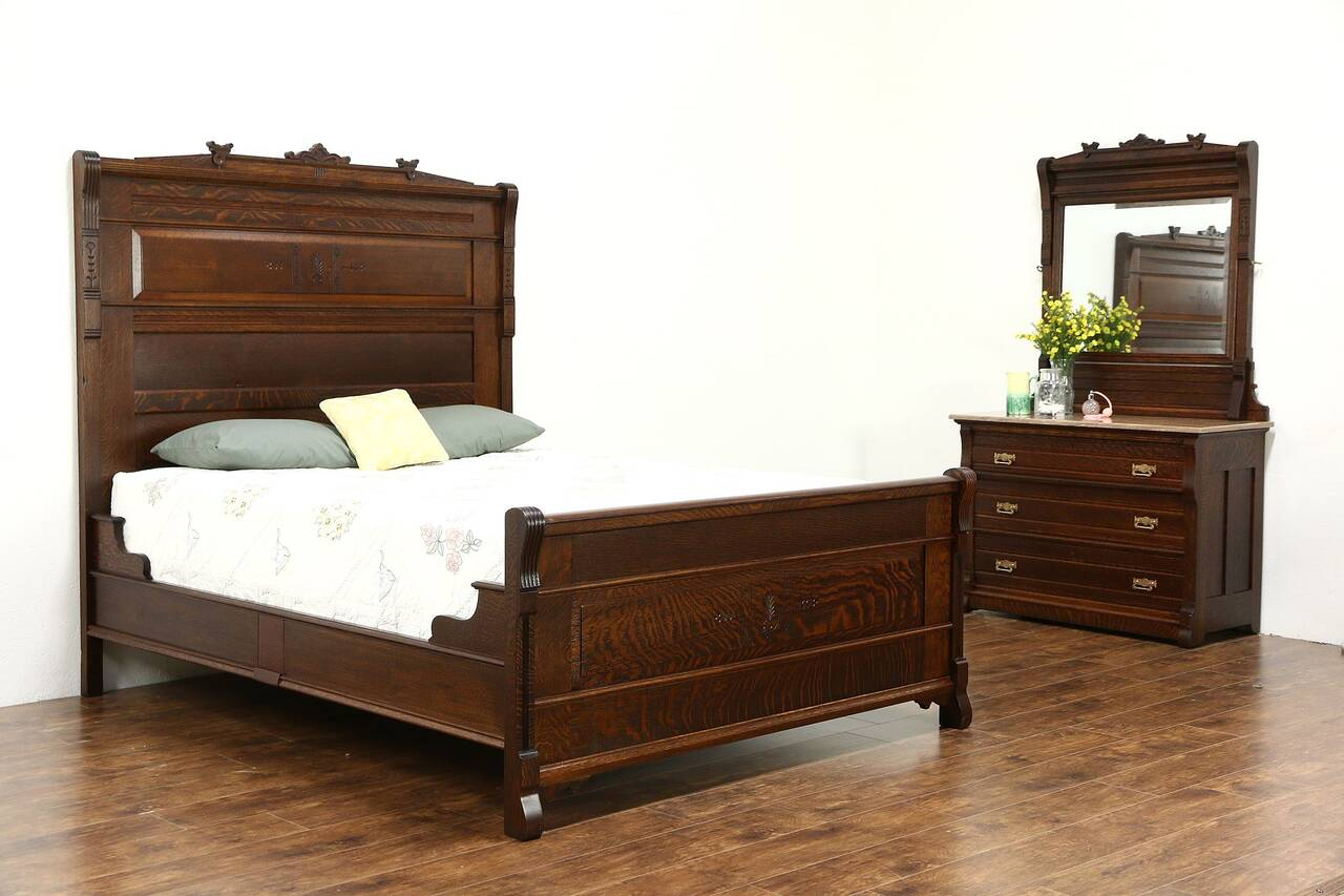 Victorian eastlake quarter sawn oak 1880 antique 2 pc for Queen size bedroom furniture