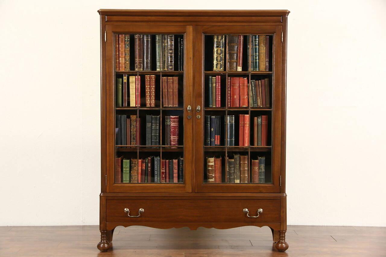 walnut 1920 antique library bookcase leaded glass doors signed ebay. Black Bedroom Furniture Sets. Home Design Ideas