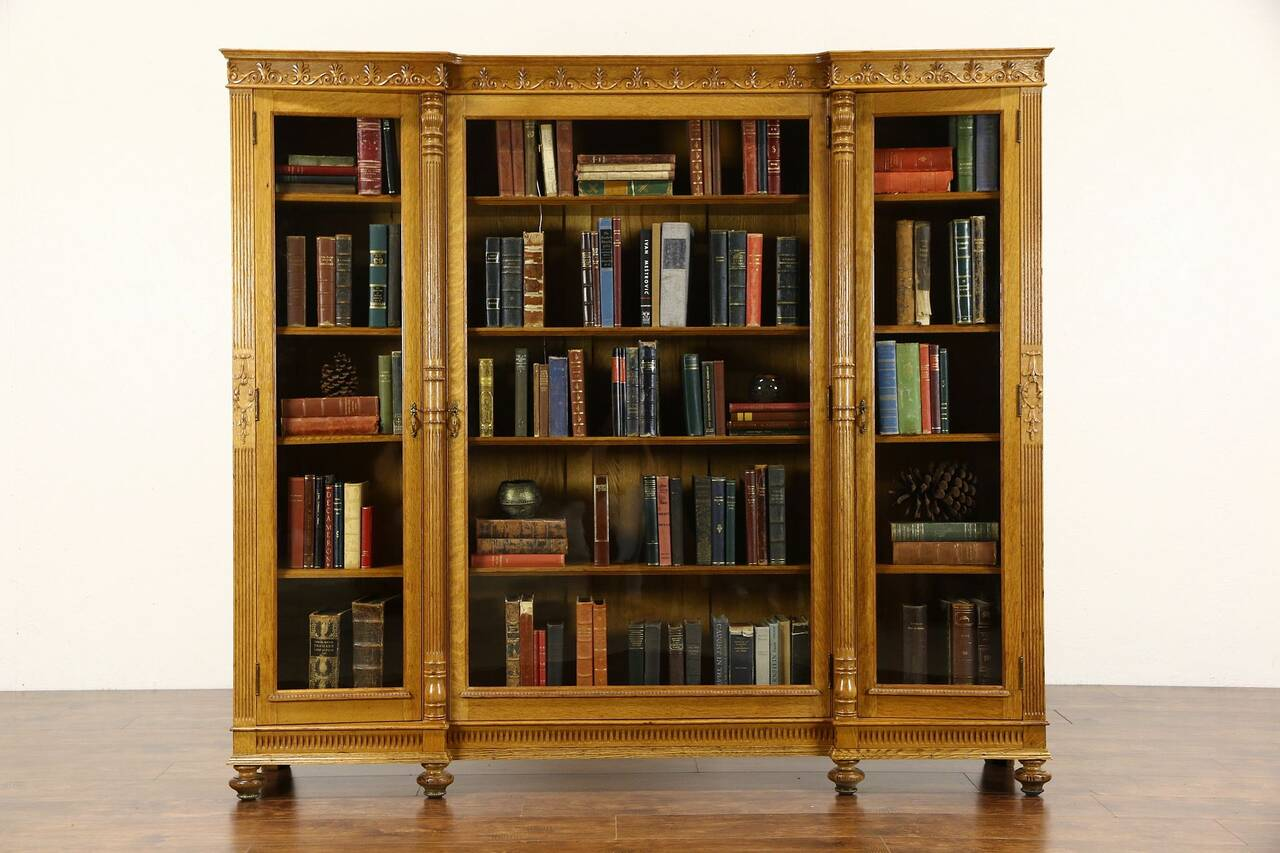 Wooden Library Furniture ~ Triple s antique carved oak library bookcase wavy