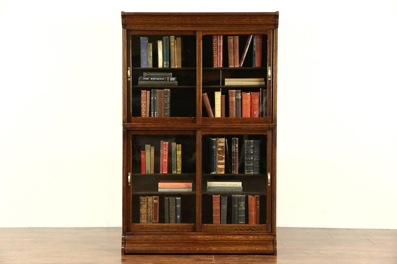 danner signed stacking oak 1900 antique bookcase sliding wavy glass doors ebay. Black Bedroom Furniture Sets. Home Design Ideas