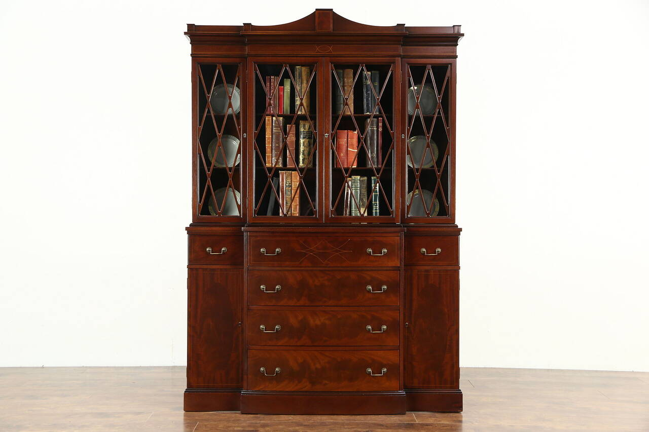 Maddox NY Signed 1950's Vintage Breakfront China Cabinet or Bookcase with  Desk - Vintage China Cabinet EBay