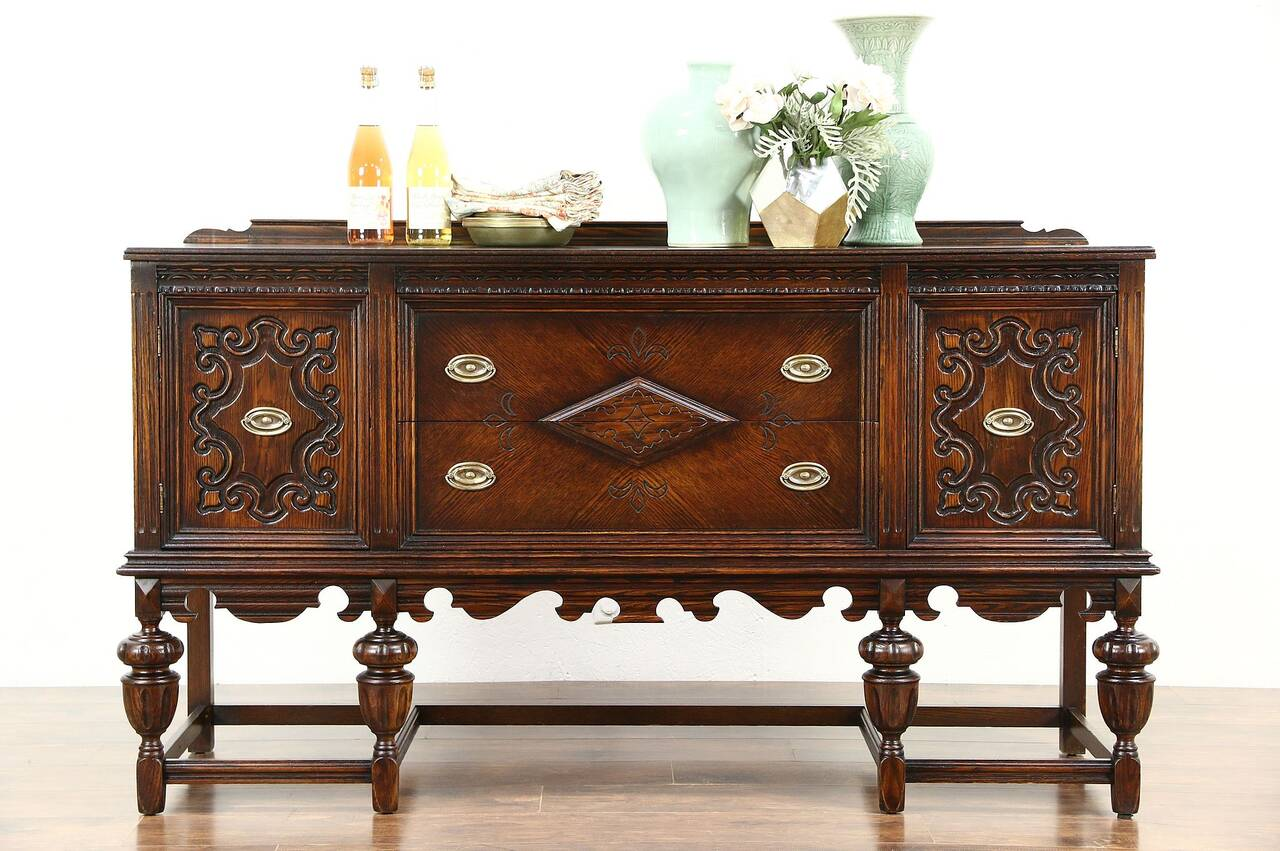 english tudor 1920 antique carved oak sideboard server or. Black Bedroom Furniture Sets. Home Design Ideas