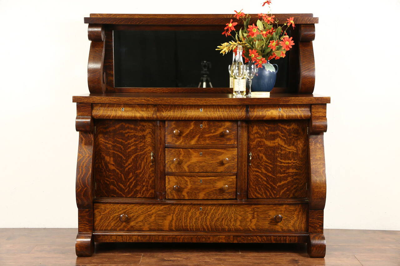 Oak 1910 antique empire sideboard server or buffet for Sideboard ebay