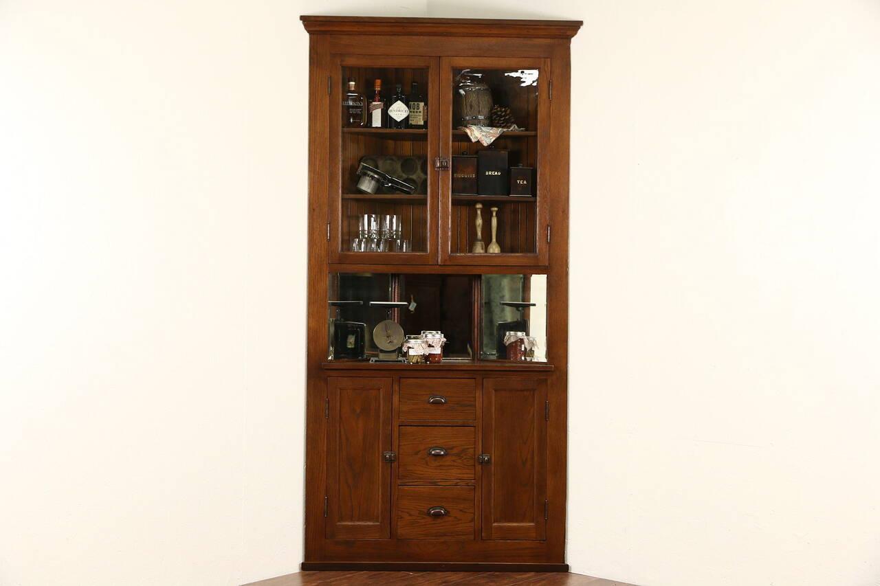 Oak Corner Cupboard 1900 Antique Cabinet Glass Doors Mirrors Ebay