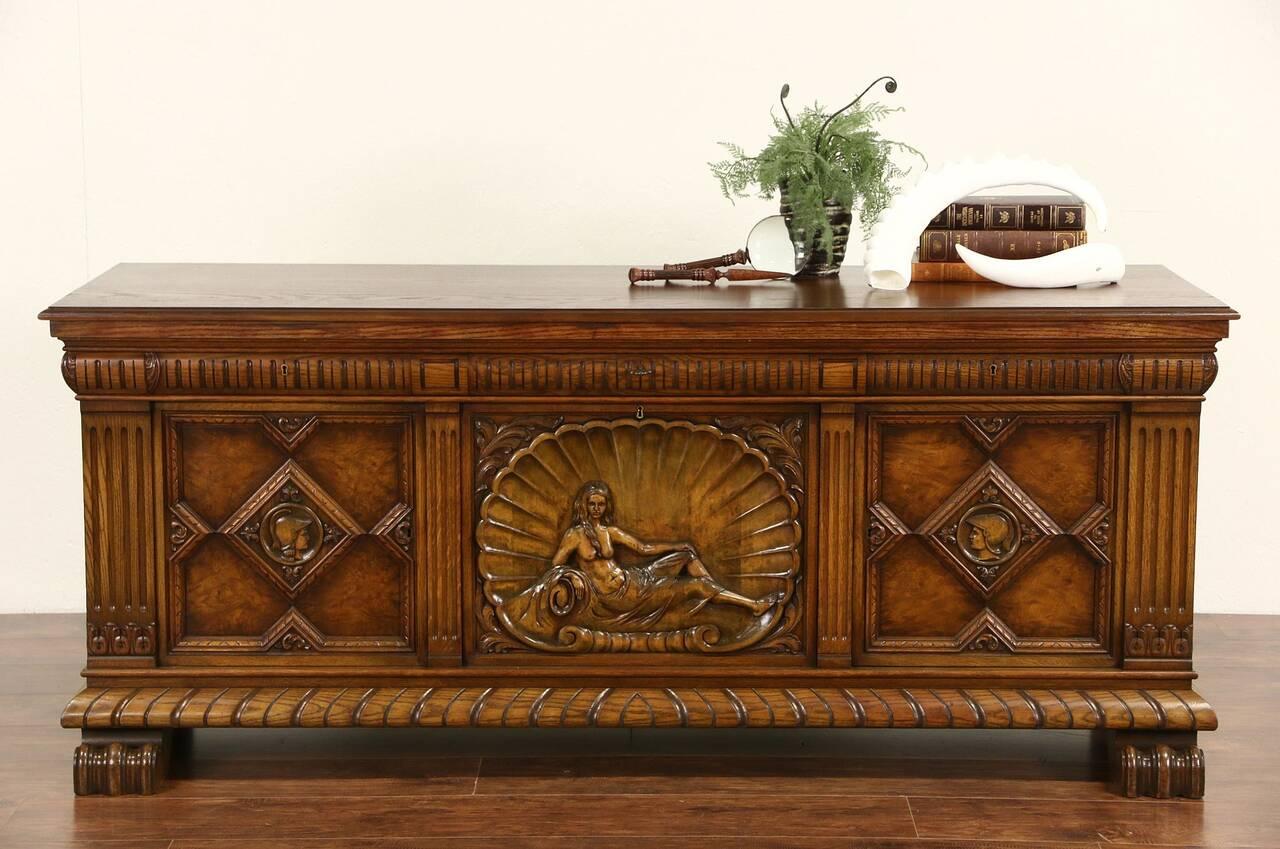 oak scandinavian 1920 39 s antique sideboard tv console carved figures ebay. Black Bedroom Furniture Sets. Home Design Ideas