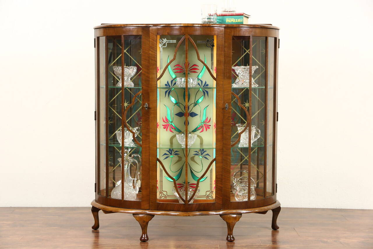 english art deco 1930 39 s vintage curio display cabinet stained glass light ebay. Black Bedroom Furniture Sets. Home Design Ideas