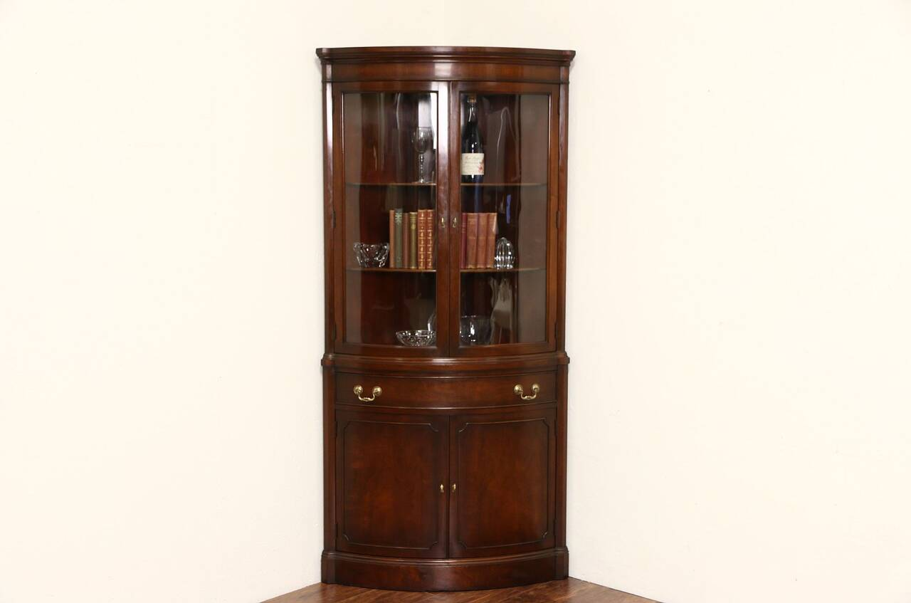 Georgian Vintage Mahogany Curved Glass Corner Cabinet
