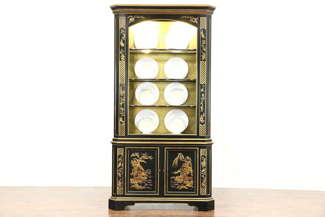 Black Lacquer Chinoiserie Vintage Curio or China Display Cabinet Signed Heritage  sc 1 st  eBay & Black Lacquer Chinoiserie Vintage Curio or China Display Cabinet ...
