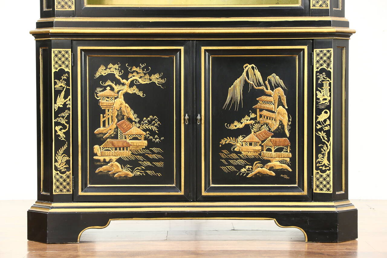 Black Lacquer Chinoiserie Vintage Curio Or China Display Cabinet Signed Heritage Thumbnail