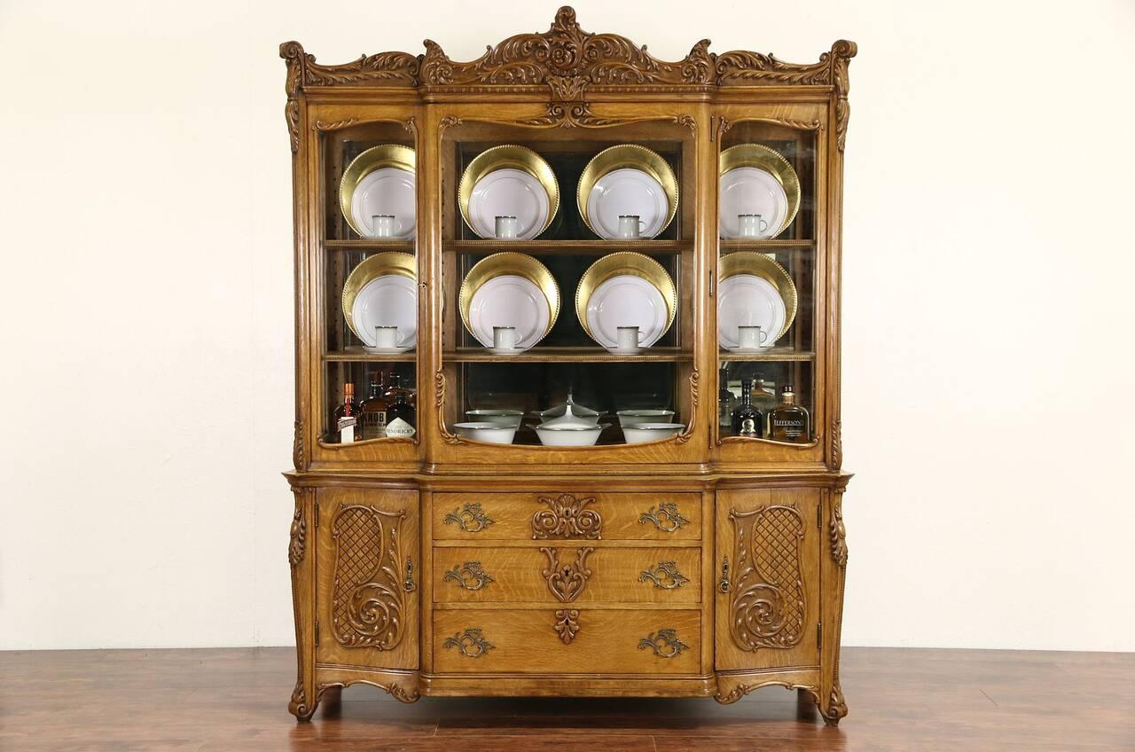 oak victorian carved 1910 antique china display cabinet. Black Bedroom Furniture Sets. Home Design Ideas