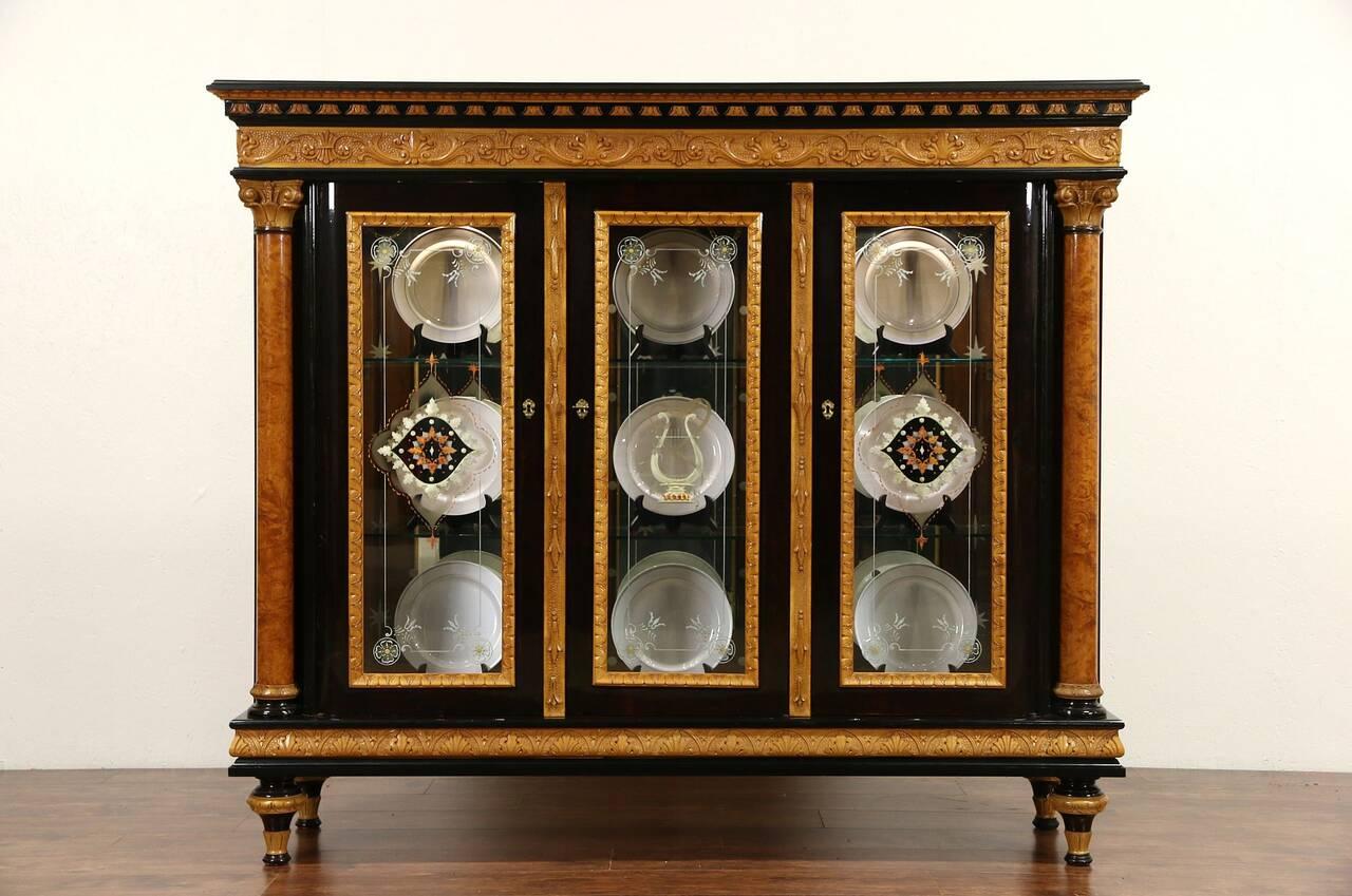 Italian Neoclassical 1930 S Vintage China Cabinet Burl