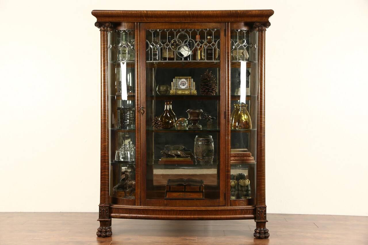 curved glass 1900 antique oak china cabinet curio display. Black Bedroom Furniture Sets. Home Design Ideas