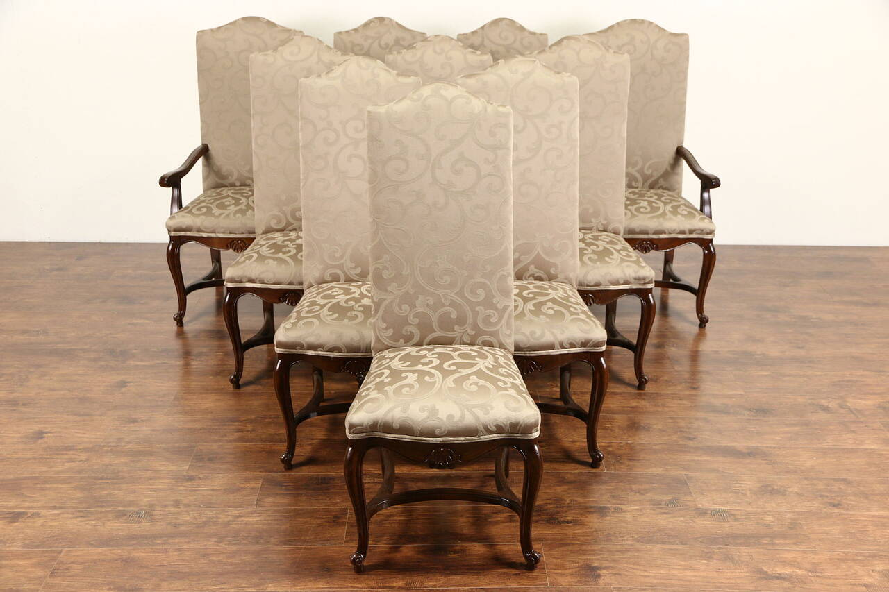 Set of 10 Country French Oak Vintage Dining Chairs ...