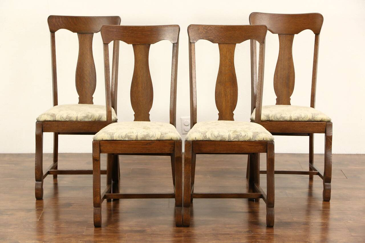 Antique Oak Chairs ~ Set of antique oak dining or game table chairs new