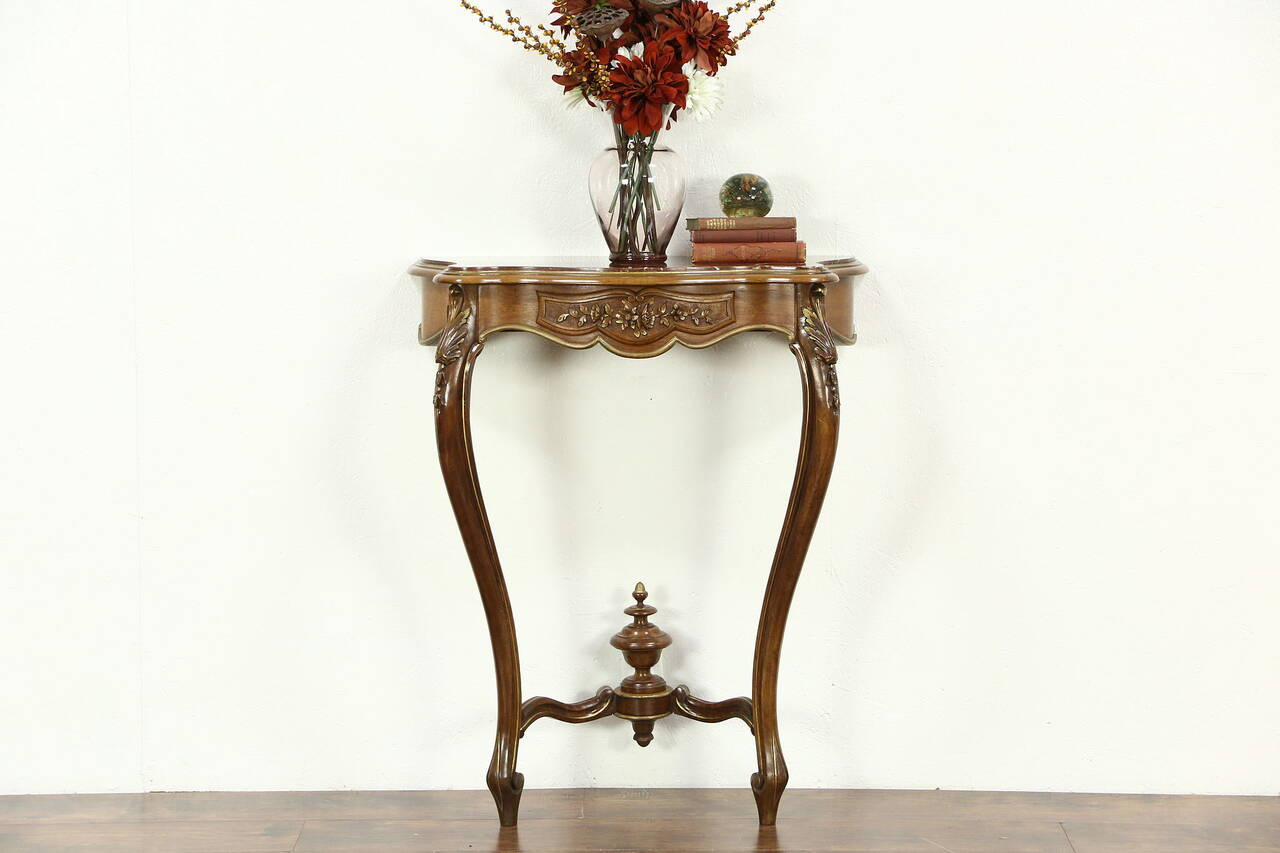 French Marble Top Hand Carved 1920 S Antique Hall Console
