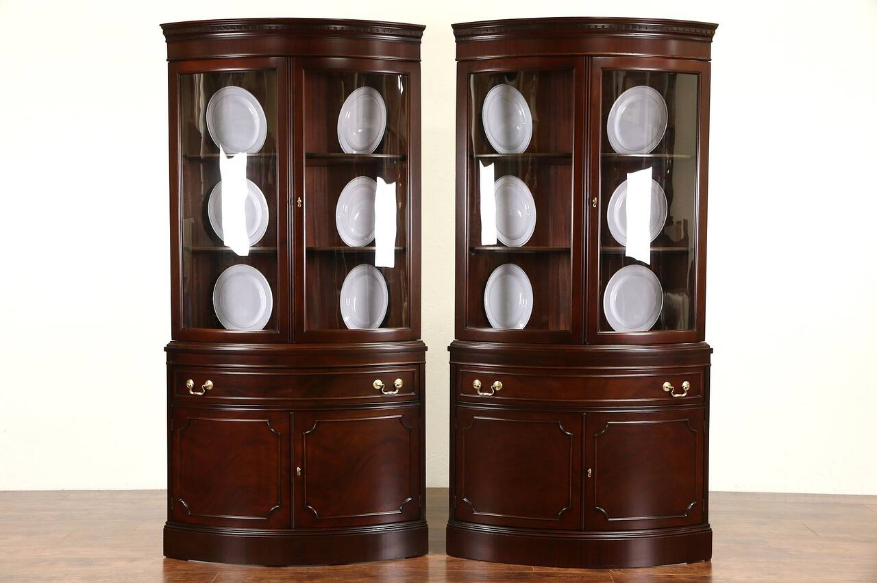 Pair Of Georgian Design Vintage Mahogany Curved Glass Corner Cabinets Ebay