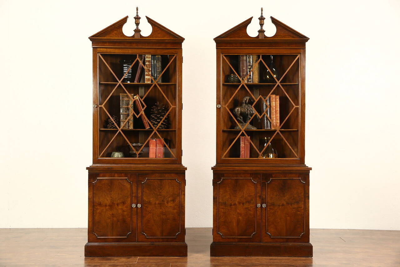 Pair Traditional 1940 S Vintage Corner Cabinets Glass